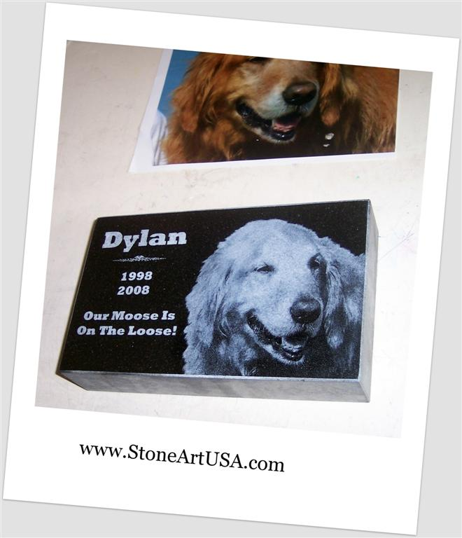 granite laser etched pet memorial