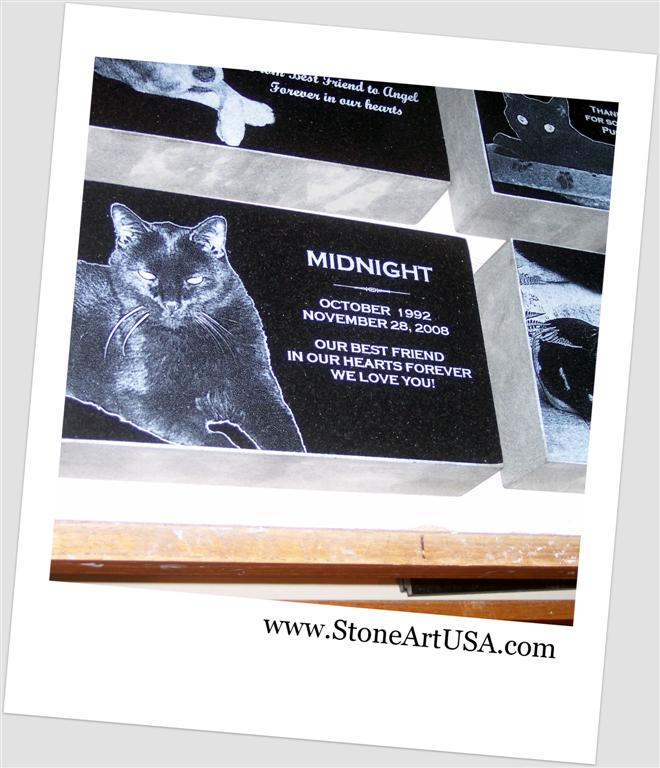 cat granite grave marker