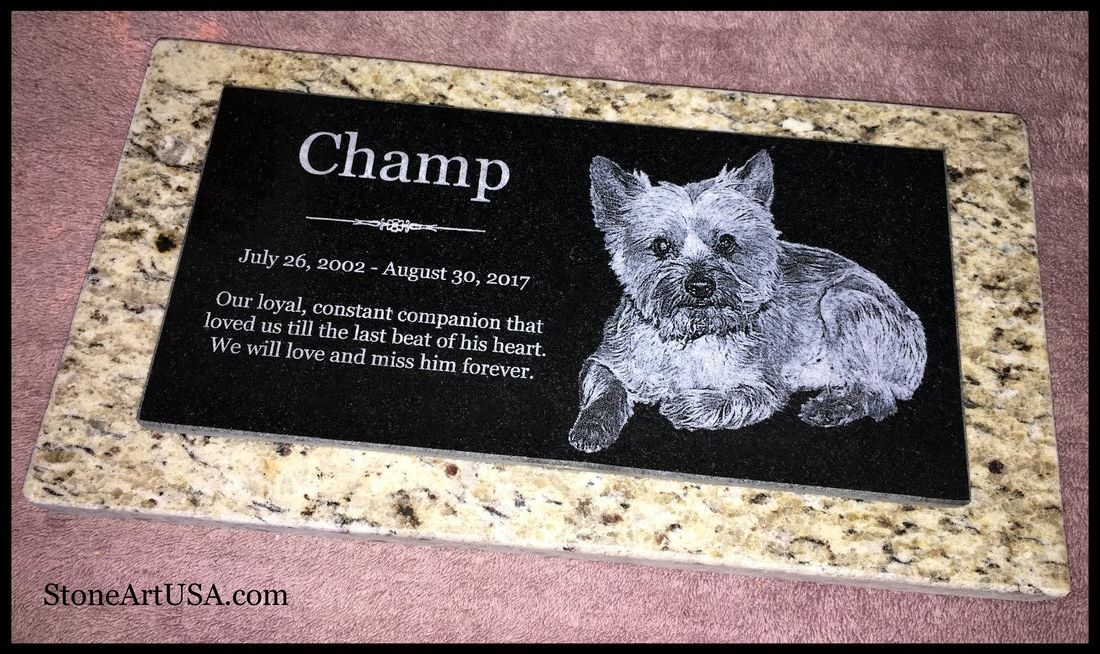 Large granite on granite pet marker