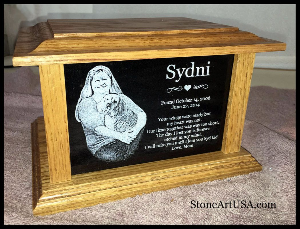 custom pet urn w/ laser etching
